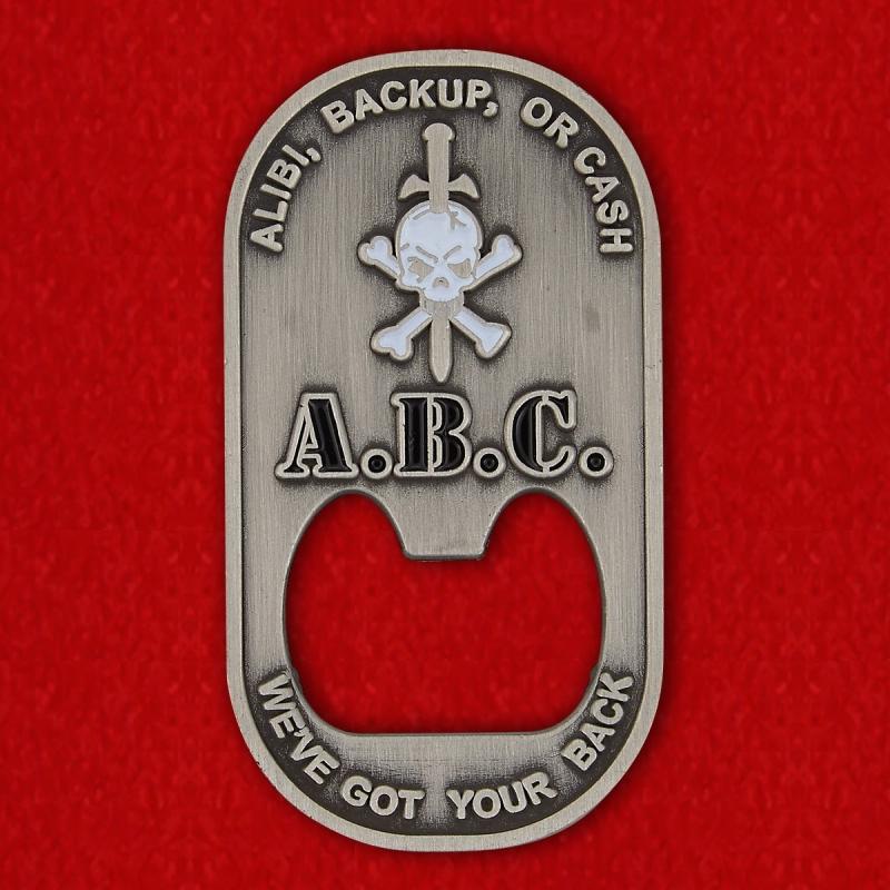"US Special Forces ""We've Got Your Back"" Bottle Opener Challenge Coin - reverse"