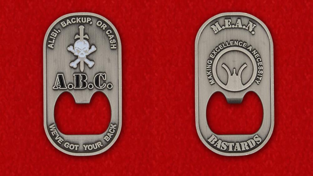 """US Special Forces """"We've Got Your Back"""" Bottle Opener Challenge Coin - both sides"""