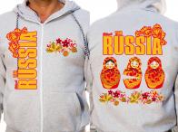 Толстовка RUSSIA «Матрёшки» серая