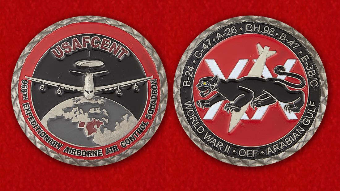 698th Expeditionary Airborn Air Control Squadrone USAFCENT Challenge Coin - obverse and reverse