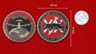 698th Expeditionary Airborn Air Control Squadrone USAFCENT Challenge Coin -  comparative size