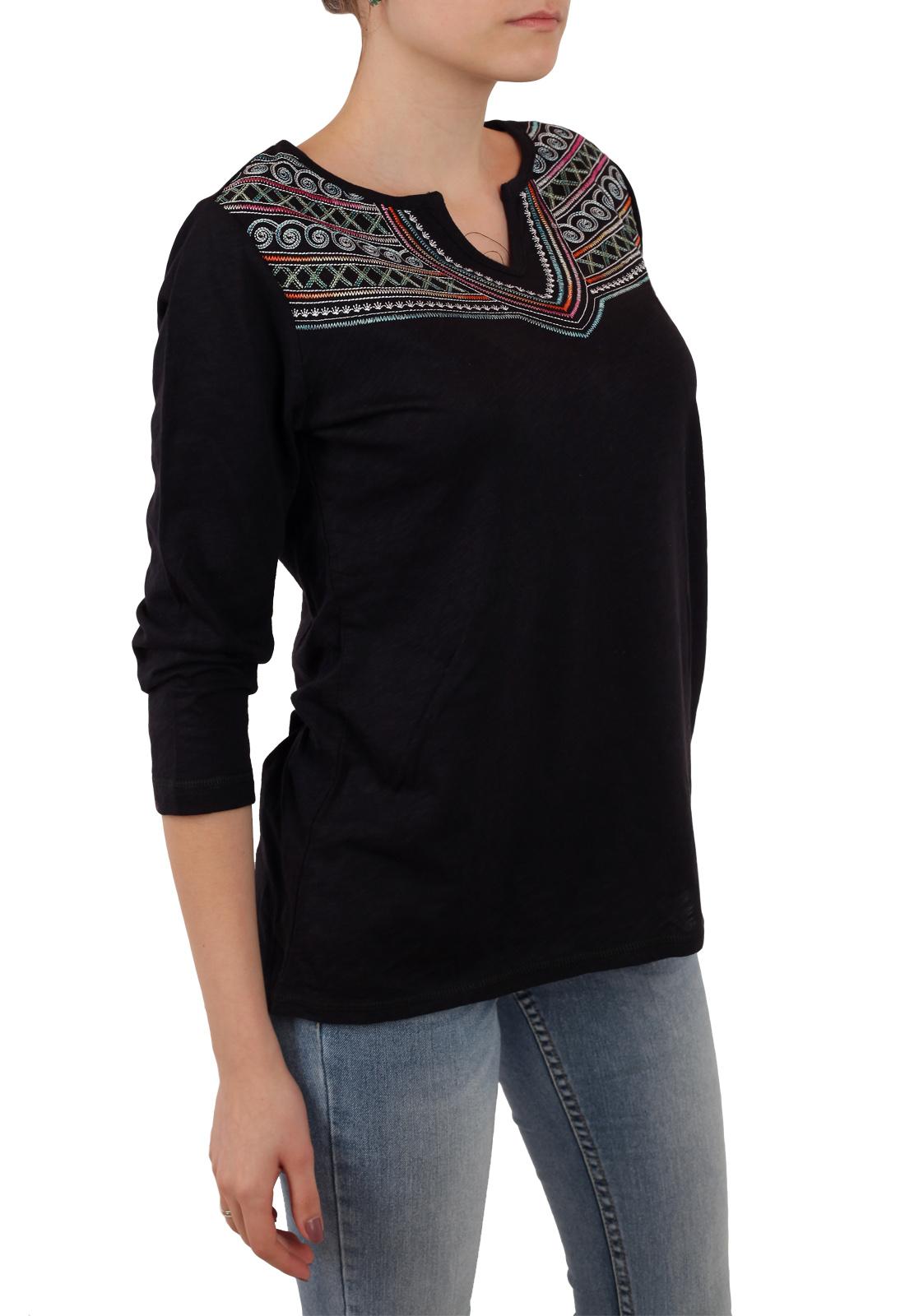 Аутентичная женская кофта Panhandle с этнической вышивкой. Кокетливо укороченный рукав и модный свободный фасон