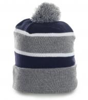 Авангардная мужская шапка в полоску с бубоном утепленная флисом