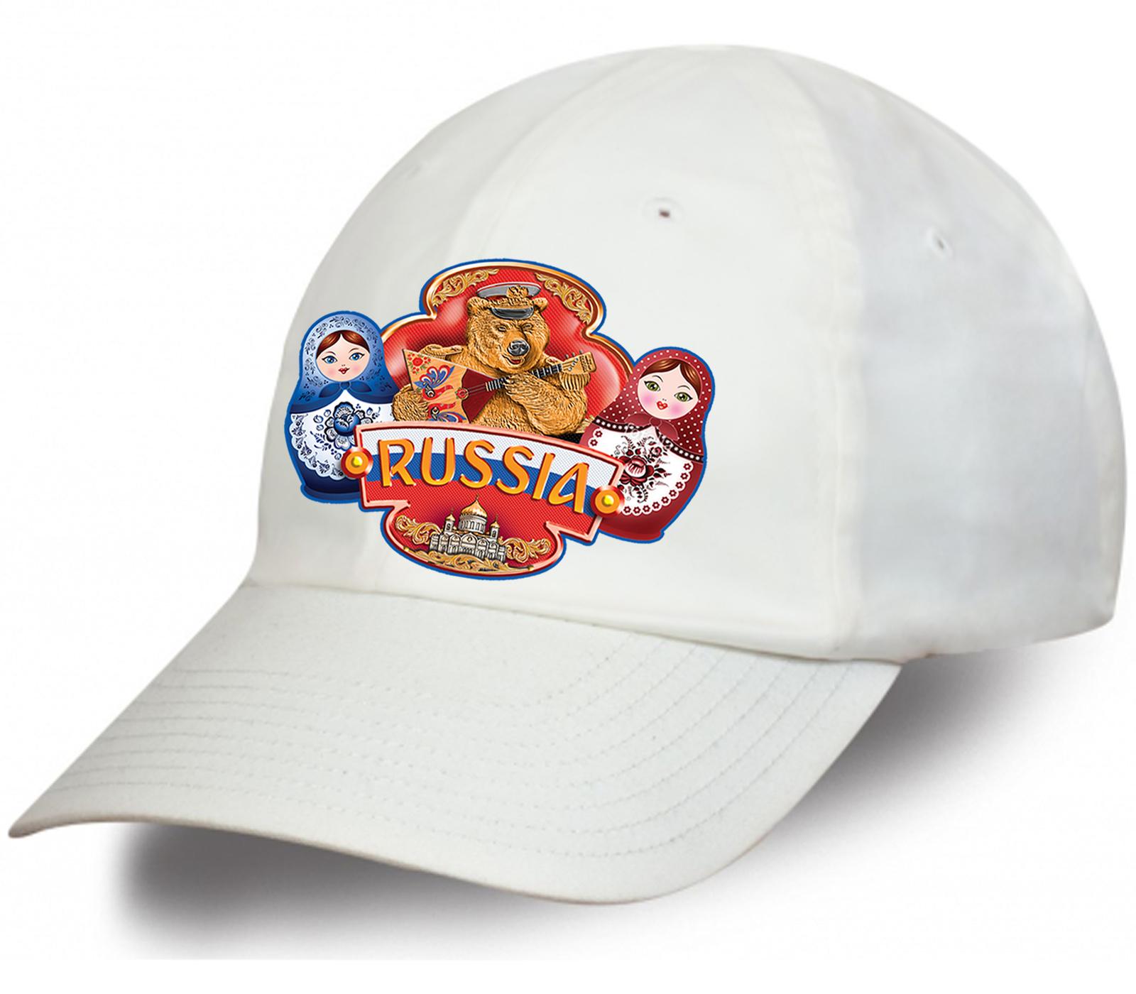 Купить в интернет магазине белую патриотическую бейсболку