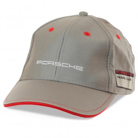 Бейсболка Porsche Travel Club – цвет металлик, красные акценты, оригинальная нашивка. Философия Порше – твоя философия: индивидуальность, качество, стиль