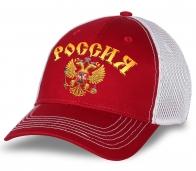 """Бейсболка """"Россия"""" в красно-белом цвете. Практичная модель с сеткой. Лучший головной убор для болельщика или патриота!"""
