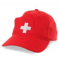 Красная бейсболка в стилистике флага Швейцарии – плотный, но легкий материал, удобный металлический фиксатор размера