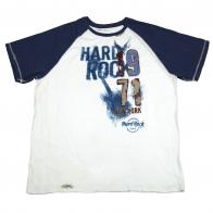 Бело-синяя футболка Hard Rock. Натуральная ткань, классический покрой