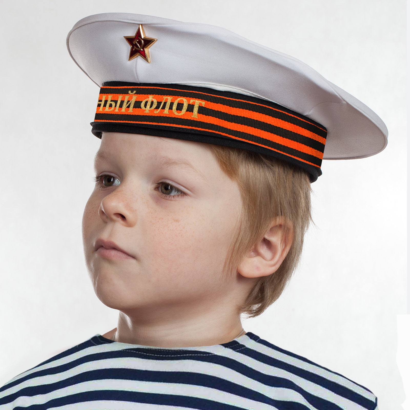 """Бескозырка """"Северный флот"""" белая с георгиевской лентой по выгодной цене"""