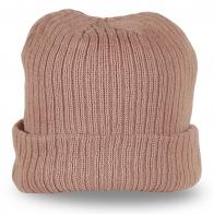Трикотажная мужская шапка резинка модного бежевого цвета