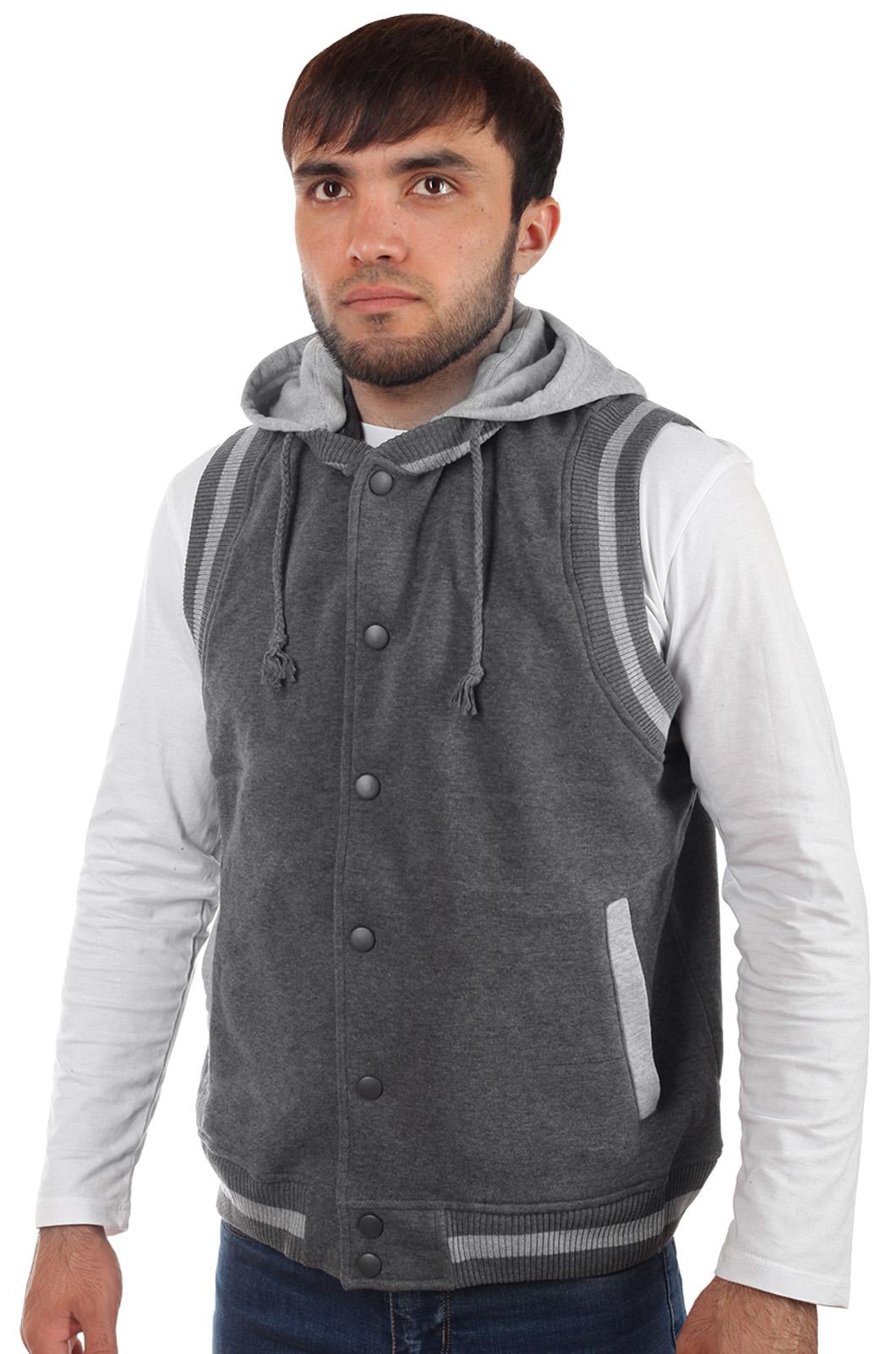 Купить в интернет магазине мужскую безрукавку с капюшоном