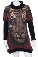 Бордовое платье с тигром от LB