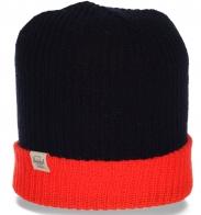 Брендовая первоклассная женская шапка от Herschel с контрастным отворотом лучший вариант