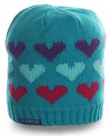 Бирюзовая женская шапка SUBARO с сердечками