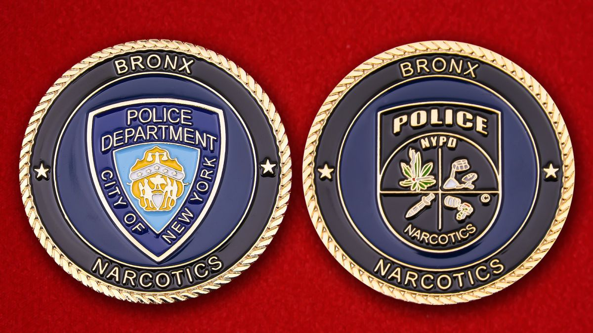 Bureau of Narcotics Bronx New York City Police Department Challenge Coin - obverse and reverse