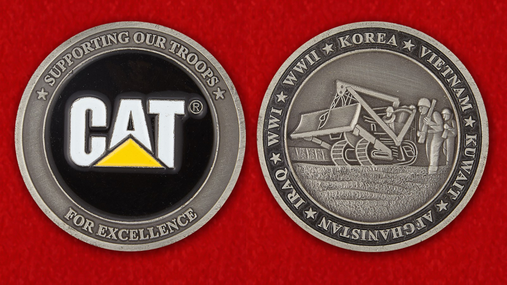"Caterpillar's ""Supporting Our Troops"" Challenge Coin of Excellence - both sides"