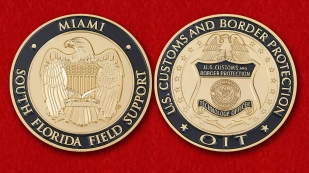 "Challenge Coin ""Customs and Border Protection US in  Miami"" - obverse and reverse"