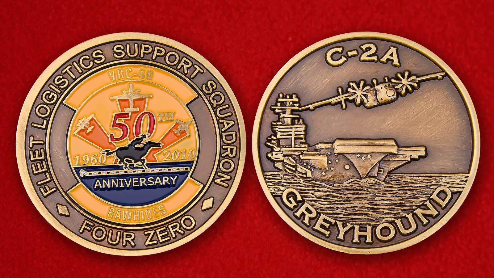 "Challenge Coin ""Deck aircraft Grumman C-2 Greyhound"" - obverse and reverse"