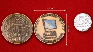 "Challenge Coin ""From the chairman of the Joint Chiefs of Staff"" - comparative size"