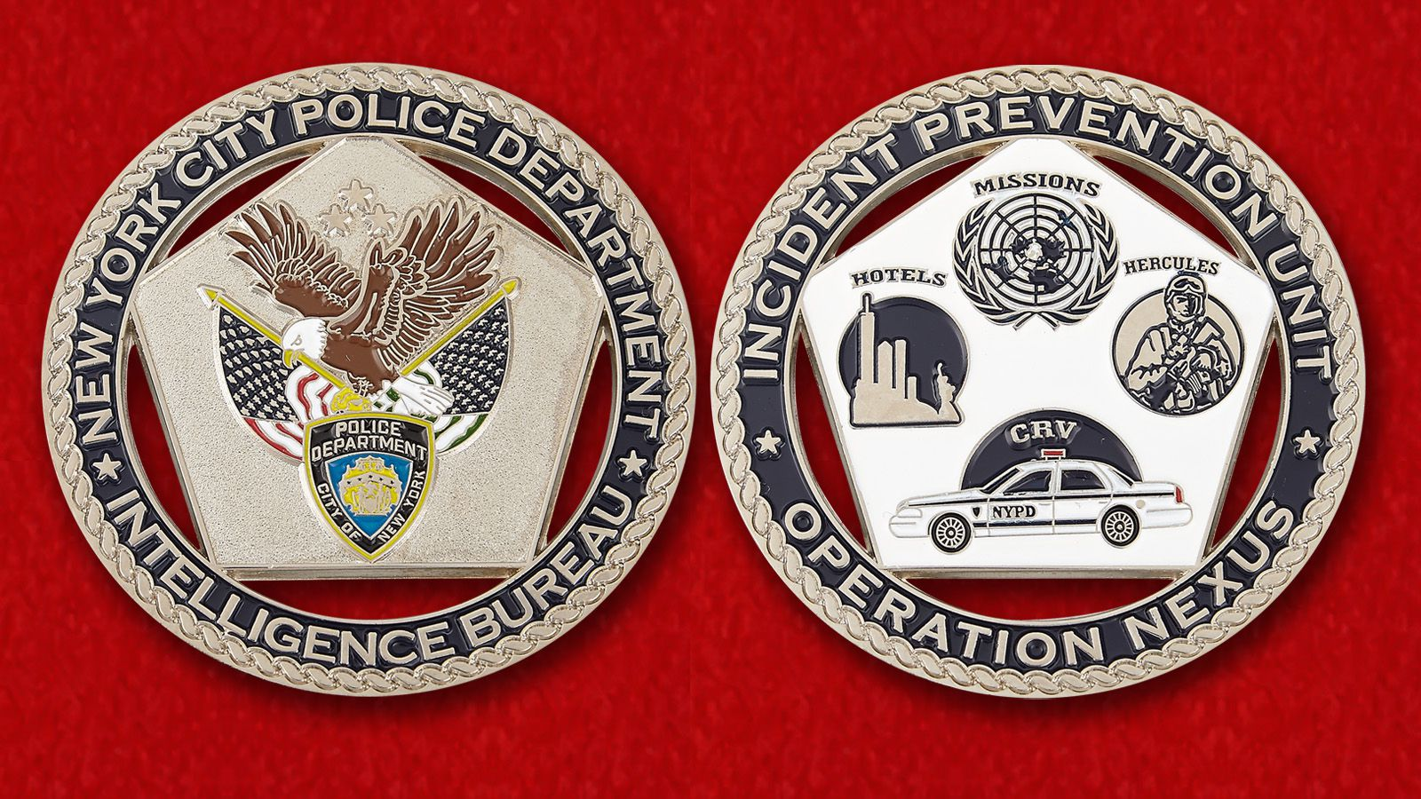 Challenge coin Intelligence Bureau police in New York City - obverse and reverse