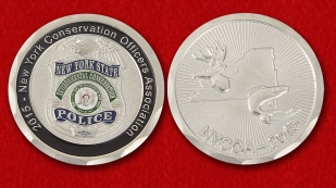 "Challenge Coin ""New York Conservation Officers Association"" - obverse and reverse"