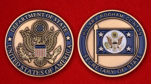 "Challenge Coin ""Secretary of the US State Department Hillary Clinton"" - obverse and reverse"
