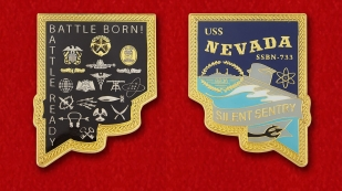 "Challenge Coin ""USS NEVADA SSBN-733"" - obverse and reverse"