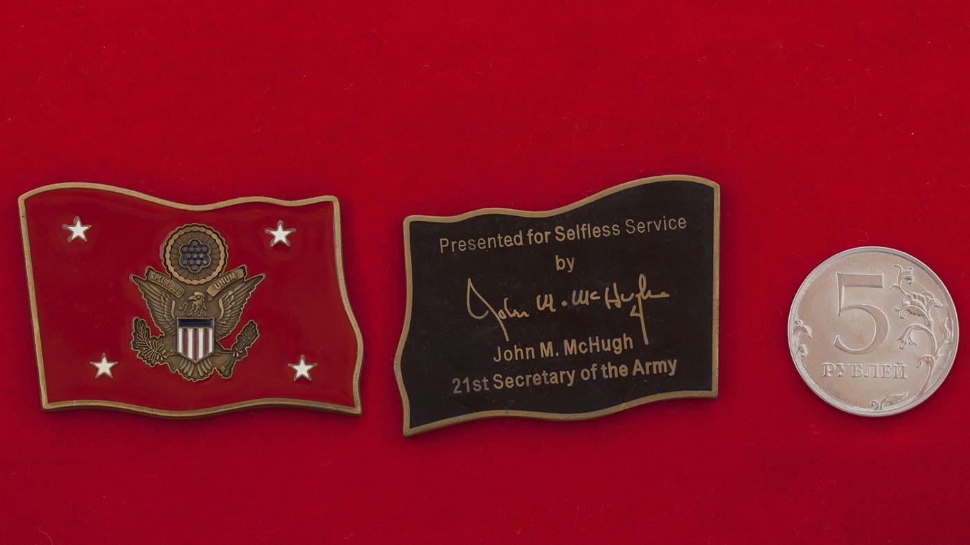 """Челлендж коин """"За самоотверженную службу"""" от Министра армии США Джона Макхью"""