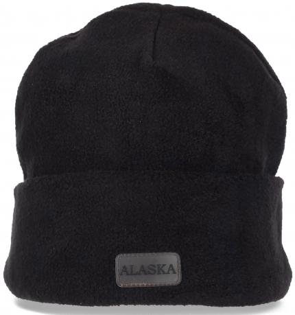 Черная флисовая мужская шапка Alaska с отворотом. Уникальная и уютная спортивная модель. Проверенное качество