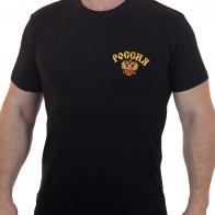 Черная мужская футболка с золотистым гербом - купить онлайн