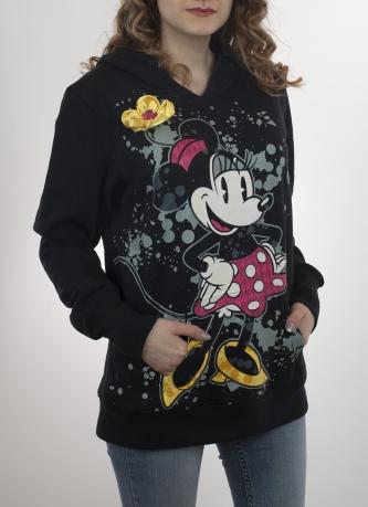 Чёрная удлинённая толстовка-худи с карманом кенгуру. Стиль оверсайз и прикольный большой принт от креативных дизайнеров Disney Parks. Гарантируем: такой не будет ни у кого!
