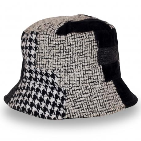 Черно-белая женская шляпка отличного качества