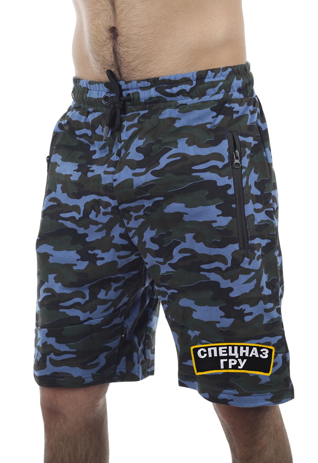 Камуфляжные шорты Спецназа ГРУ: карманы, пояс-резинка, хлопок