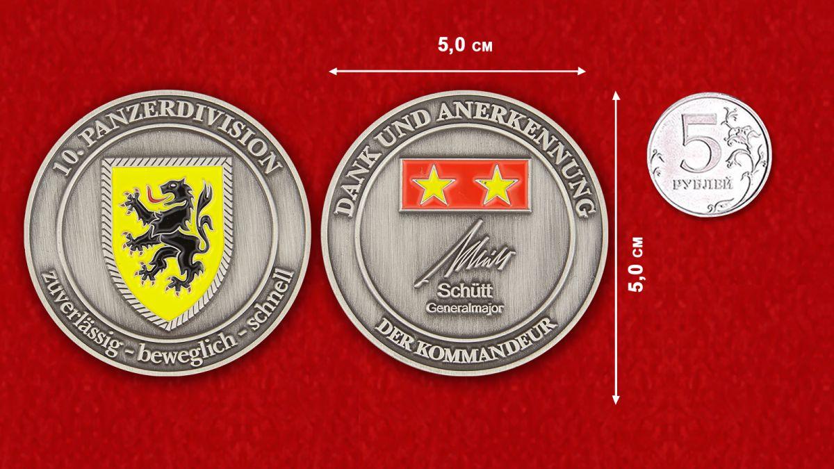Dank und Anerkennung der Kommandeur der 10. Panzerdivision, Generalmajor Schütt Challenge Coin - Vergleichsgröße