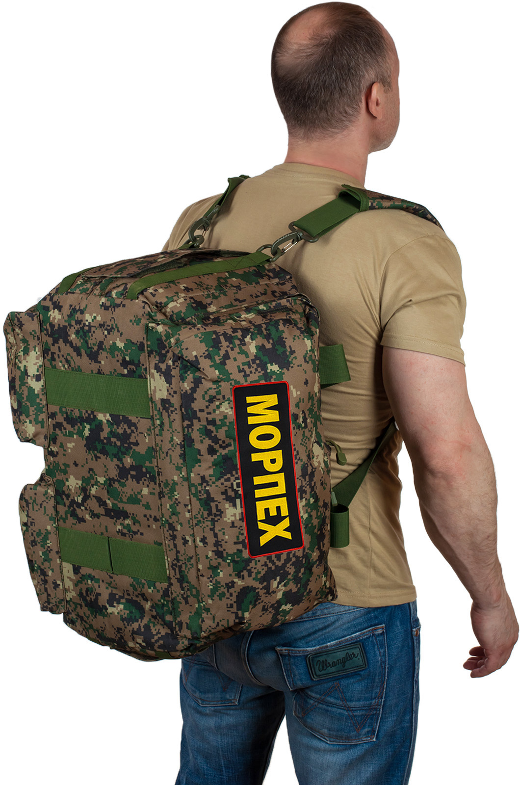 Большая дорожная сумка камуфляж с нашивкой Морпех