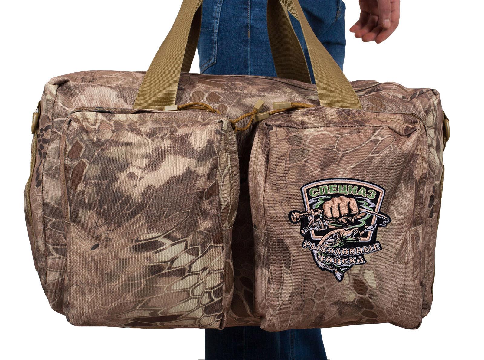 Дорожная сумка в камуфляже Kryptek Nomad с шевроном Рыболовного спецназа купить с доставкой