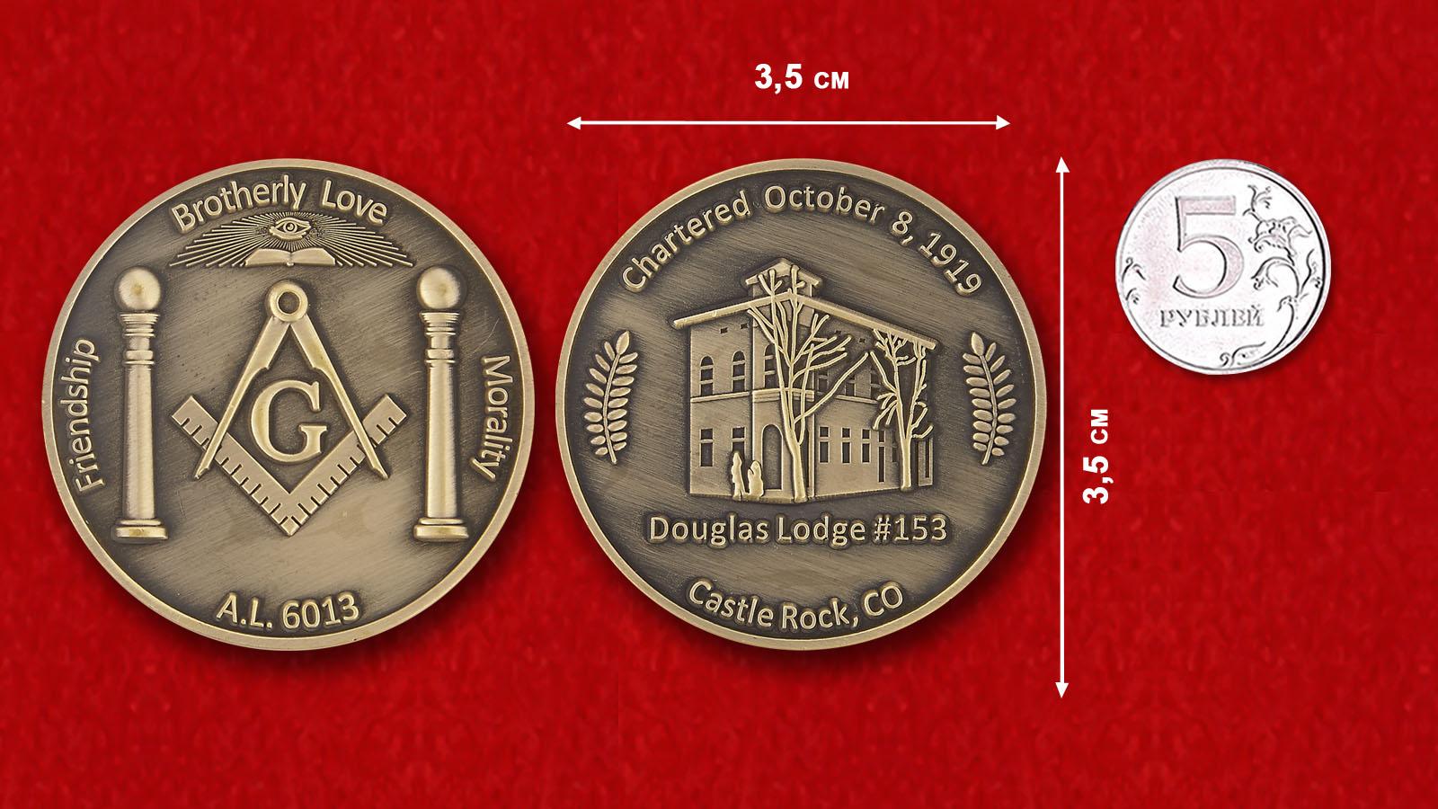 Douglas Lorge # 153 Castle Rock, Colorado Challenge Coin - comparative size