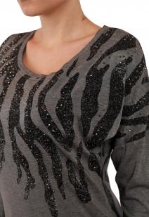 Удлиненный женский джемпер-туника от ТМ Rock and Roll Cowgirl. Популярный романтический стиль с декором из полубусин
