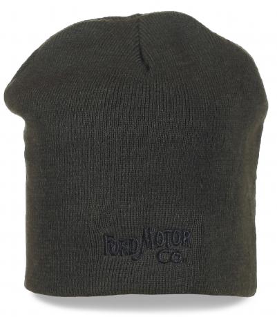 Фирменная шапка Ford Motor Co темного цвета. Теплая и комфортная модель на каждый день