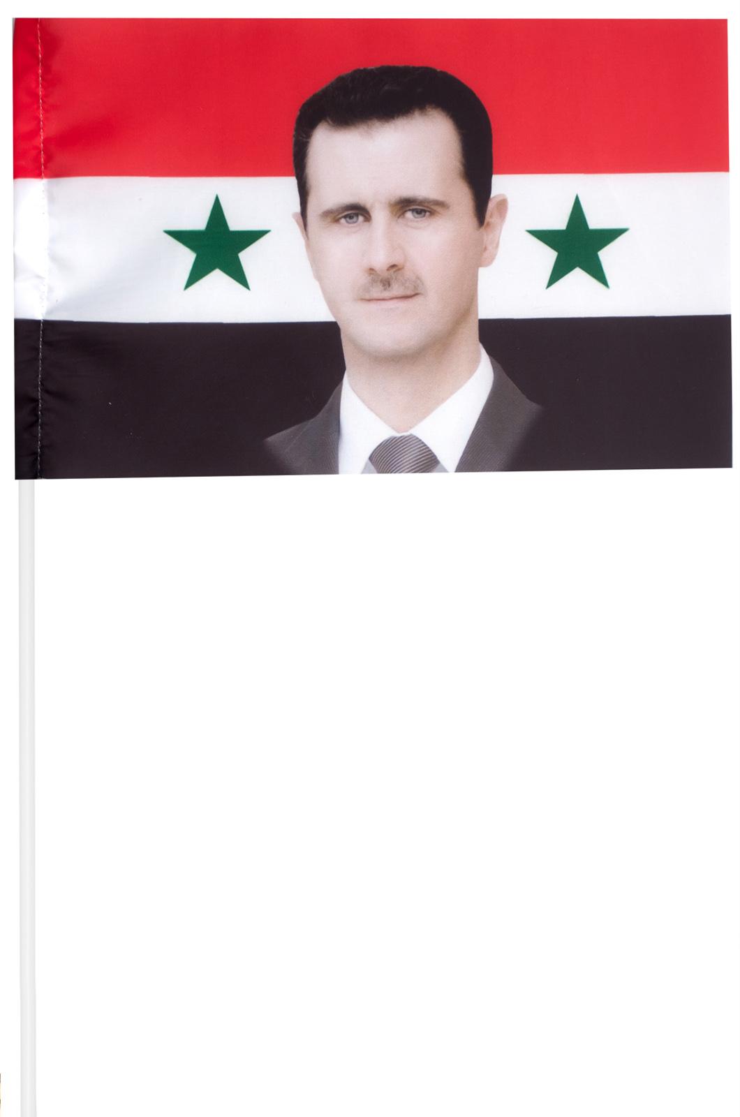 Флажок Сирии с портретом Асада