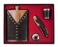 Фляжка для спиртного подарочная (фляжка, стопка, воронка, штопор-нож)