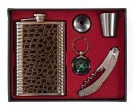 Фляжка в подарочном наборе (фляжка, стопка, штопор, воронка, брелок)