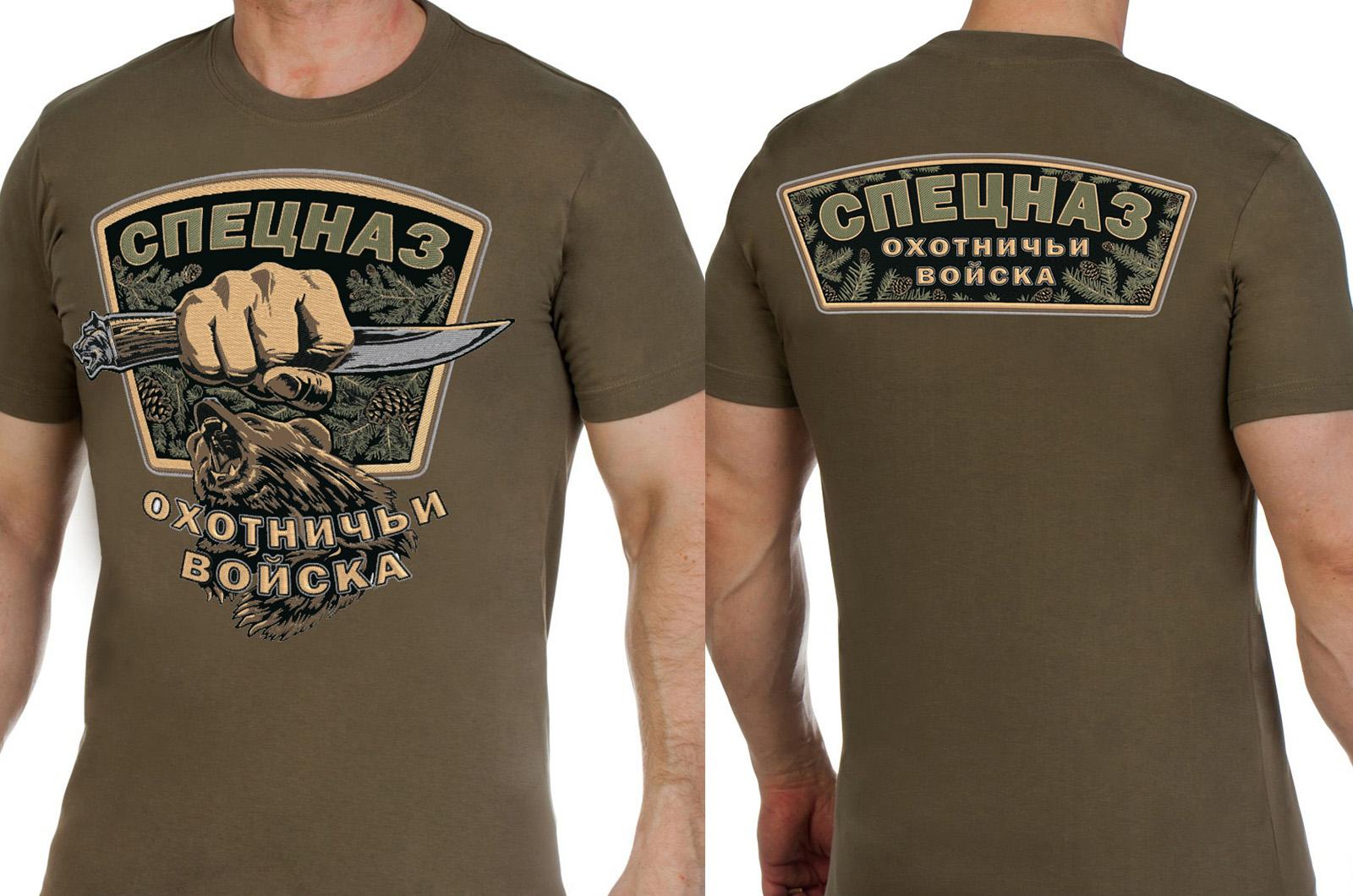 """Заказать футболку хаки с вышивкой """"Охотничий спецназ"""""""