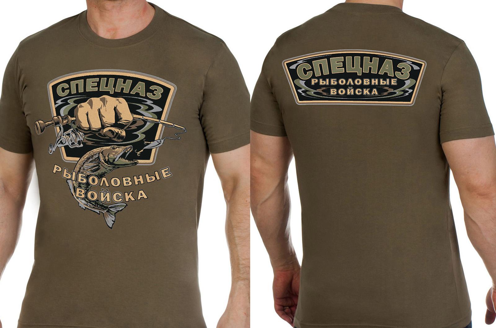 """Заказать футболку хаки с вышивкой """"Рыболовный спецназ"""""""