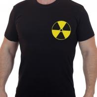 Футболка мужская с вышитым знаком Радиация