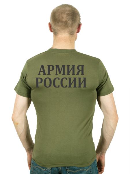 Футболка с надписью «Армия России» хаки-вид со спины