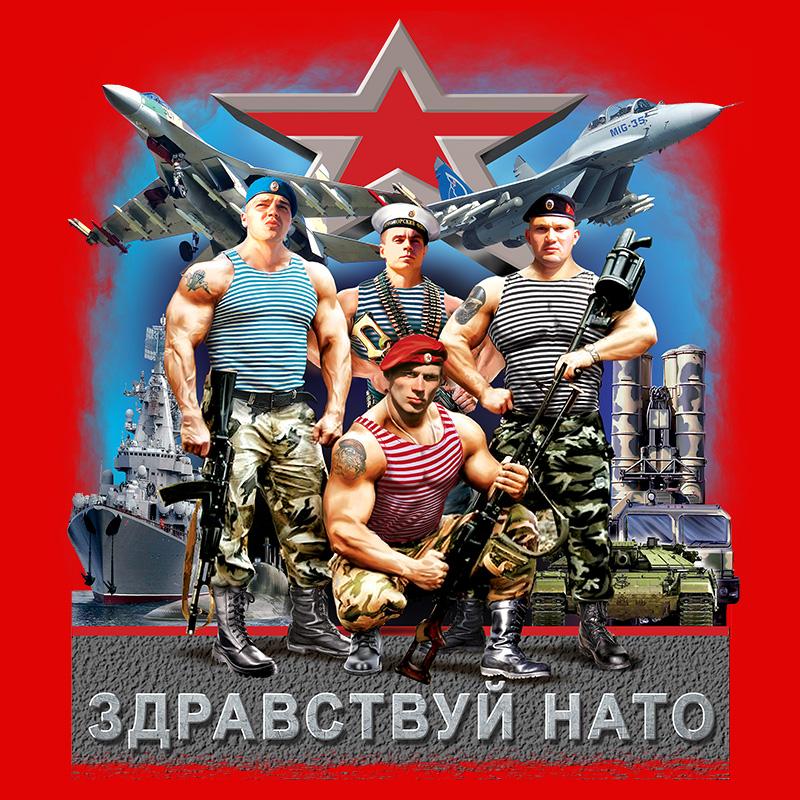 """Футболка """"Здравствуй НАТО, Армия России"""" с принтом"""