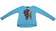 Голубая кофточка бренда Rock&Roll CowGirl с тематическим принтом индейского роуча