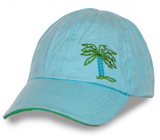 Голубая курортная кепка