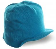 Голубая тусовочная шапка с козырьком уникального дизайна на флисе